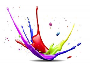 Dispersionen, Farben, Kleks, Emulsionen