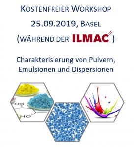Flyer ILMAC Workshop 2019, Charakterisierung von Pulver, Dispersionen, Emulsionen