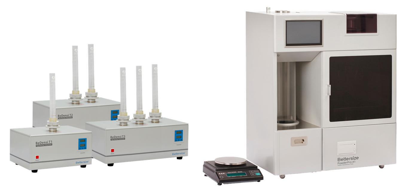 BeDensi T series, PowderPro A1, tap density