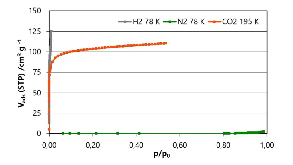 Zeolite 4A isotherms of H2 at 78 K, CO2 at 195 K, and N2 at 78 K